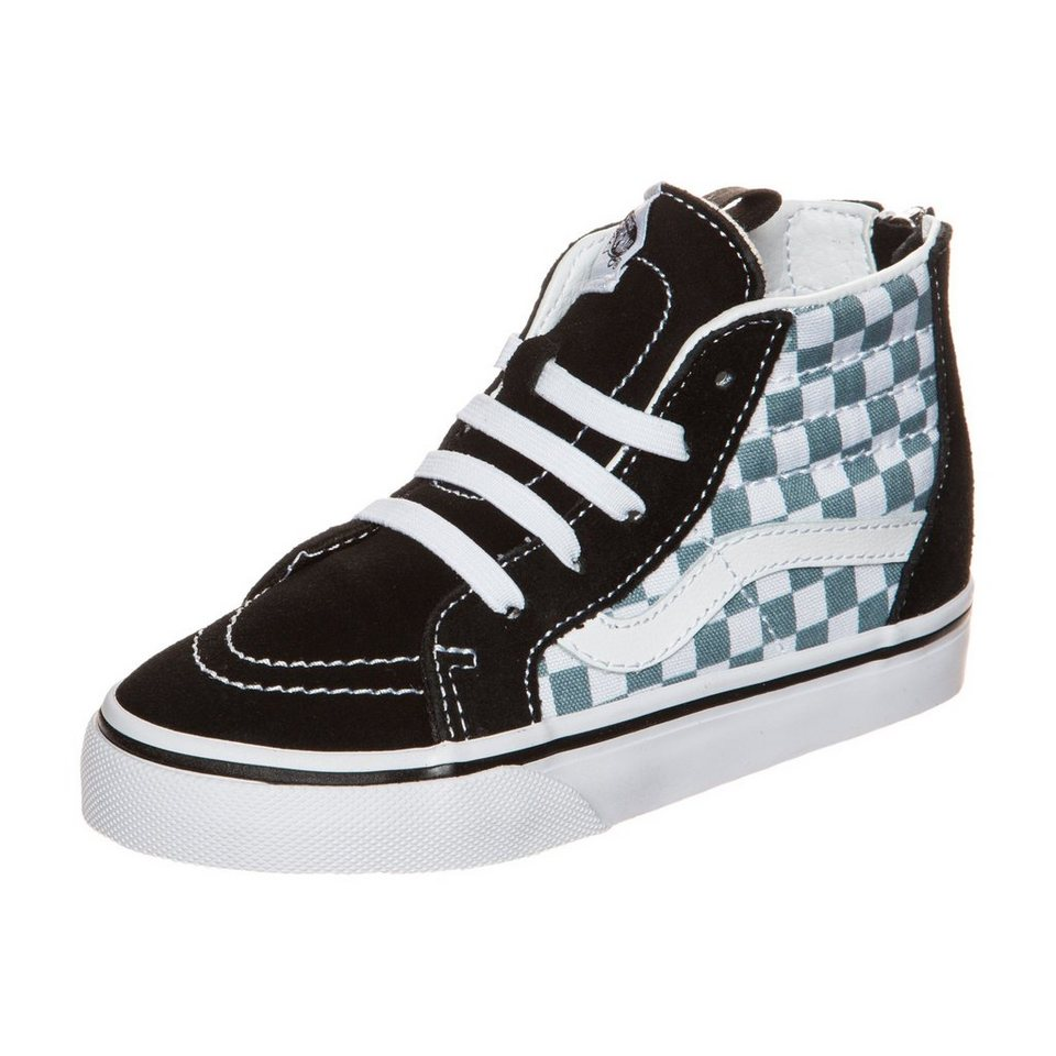 VANS Sk8-Hi Zip Checkerboard Sneaker Kleinkinder in schwarz / grau