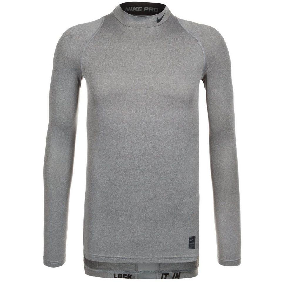 NIKE Pro Dry Compression Mock Trainingsshirt Herren in grau / schwarz