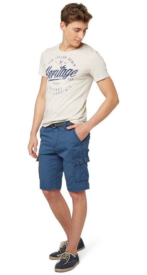 TOM TAILOR DENIM Shorts »structured Cargo bermuda« in dark duck blue
