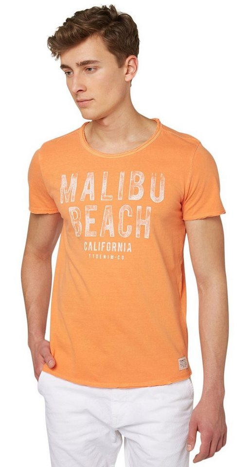 "TOM TAILOR DENIM T-Shirt »T-Shirt mit ""MALIBU""-Print« in fruity melon orange"