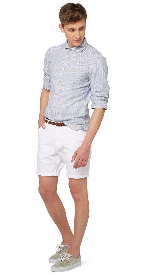 TOM TAILOR DENIM Shorts »fein strukturierte Chino-Bermuda« in white