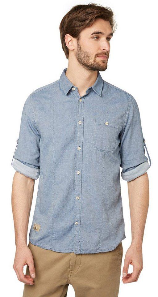 TOM TAILOR Hemd »fein gemustertes Hemd« in ensign blue
