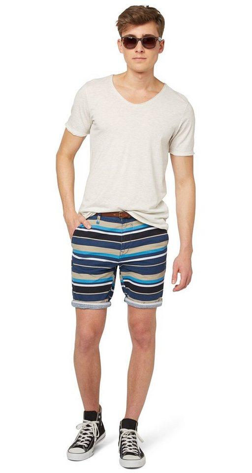TOM TAILOR DENIM Shorts »fein strukturierte Chino-Bermuda« in dark duck blue