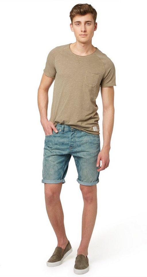 TOM TAILOR DENIM Shorts »gemusterte Jeans-Bermuda« in dk. laser wash