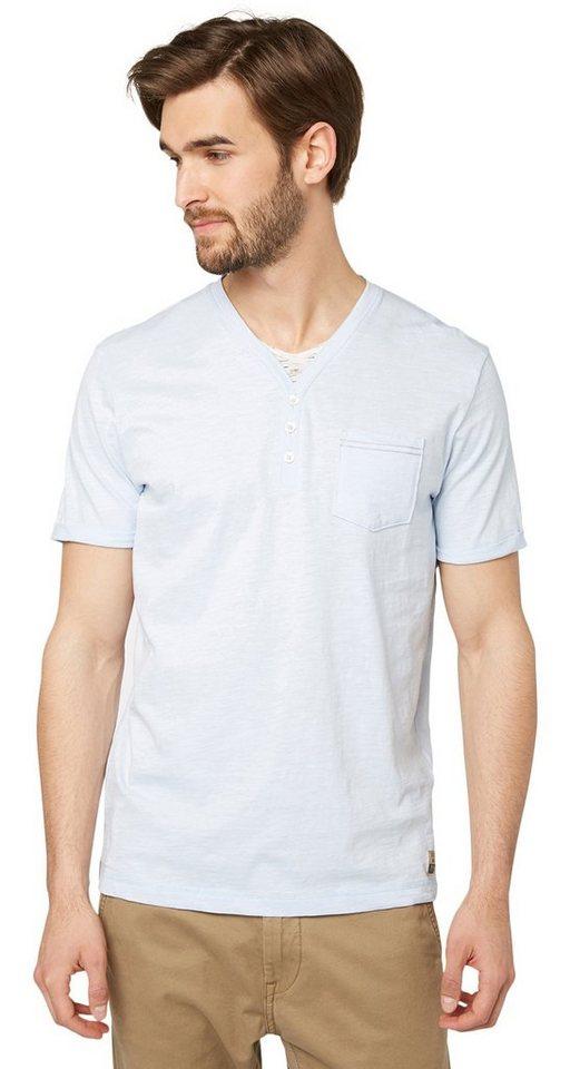 TOM TAILOR T-Shirt »slub serafino with underlayer« in frosty light blue