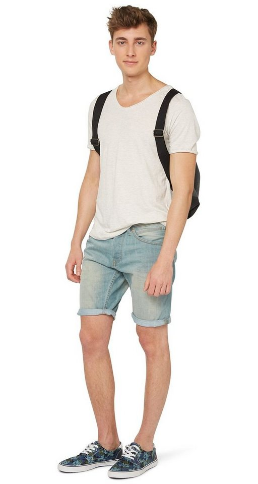 TOM TAILOR DENIM Shorts »Used-Jeans in Bermuda-Länge« in blue denim green cas