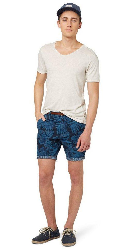 TOM TAILOR DENIM Shorts »gemusterte Chino-Bermuda mit Gürtel« in dark duck blue