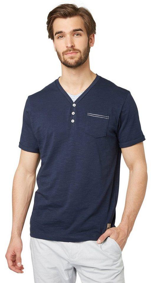 TOM TAILOR T-Shirt »Serafino-Shirt mit Underlayer« in real navy blue