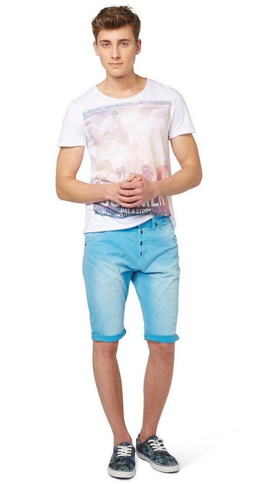 TOM TAILOR DENIM Shorts »Anti fit acid washed bermuda« in bluejay blue