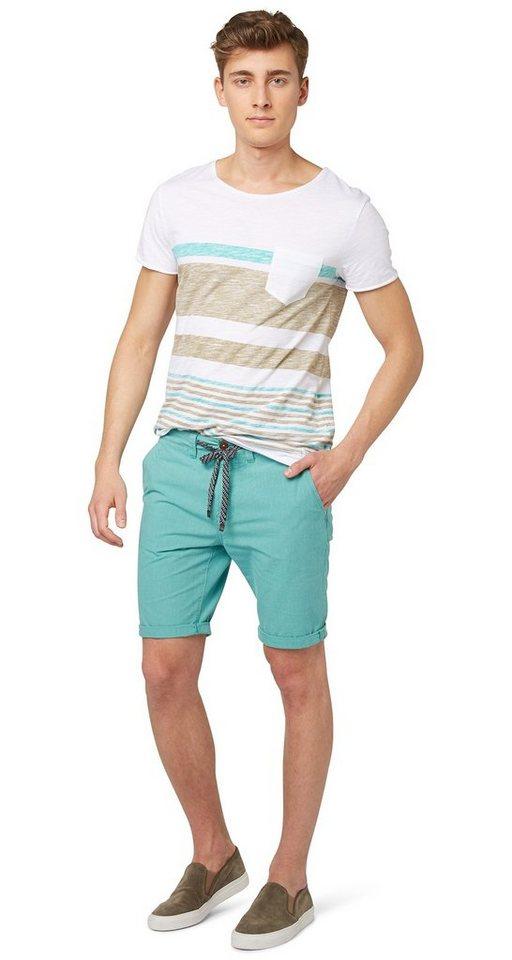 TOM TAILOR DENIM Shorts »Chino-Bermuda mit Bindeband« in new porcelain green