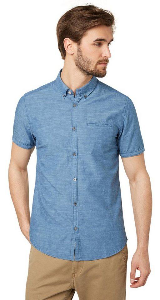 TOM TAILOR Hemd »Kurzarm-Hemd mit Einstecktuch« in ensign blue