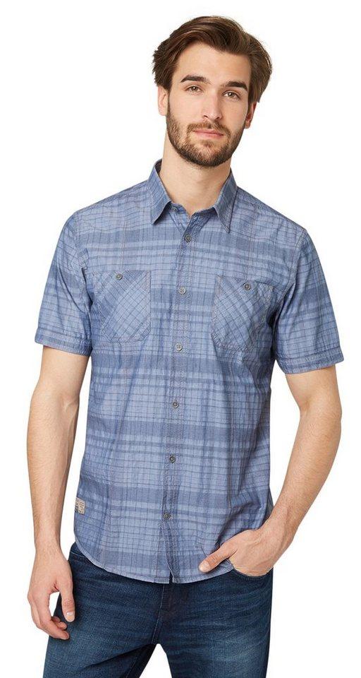 TOM TAILOR Hemd »Kurzarm-Hemd mit Karo-Muster« in ensign blue
