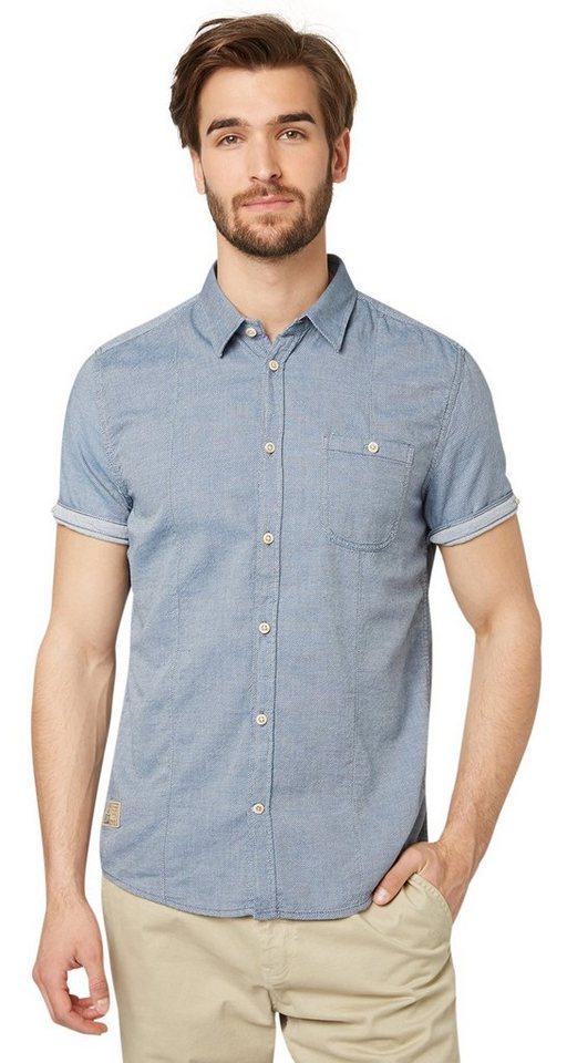 TOM TAILOR Hemd »schlichtes Karo-Hemd« in ensign blue