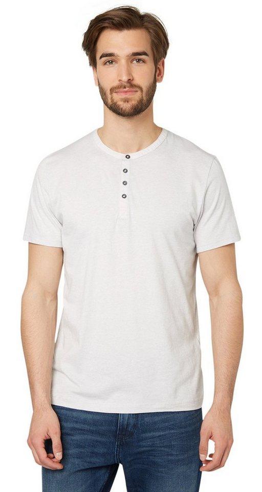 TOM TAILOR T-Shirt »T-Shirt mit Henley-Kragen« in light frost grey