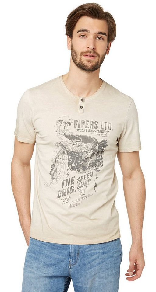 TOM TAILOR T-Shirt »Henley-Shirt mit Schlangen-Print« in chinchilla