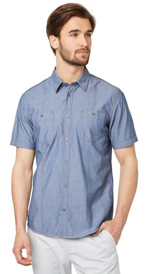 TOM TAILOR Hemd »Kurzarm-Hemd mit feinem Muster« in ensign blue