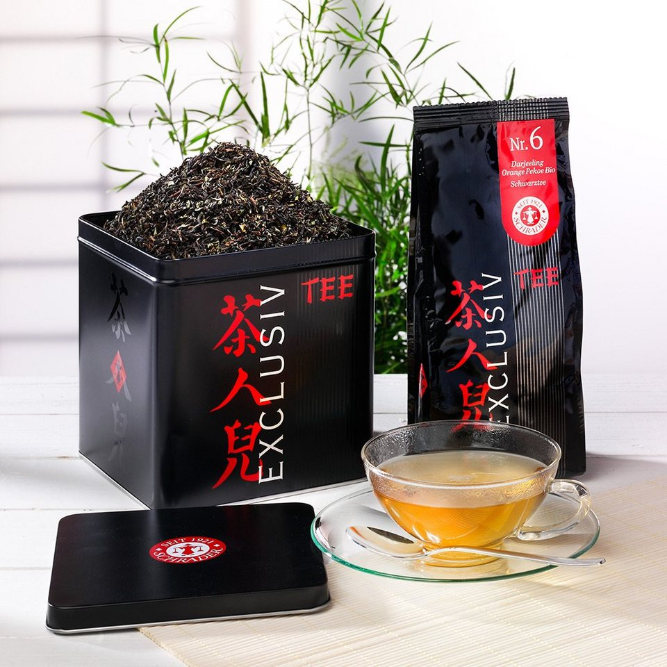 Schrader Tee Nr. 6 Schwarzer Tee Darjeeling Orange Pekoe Bio