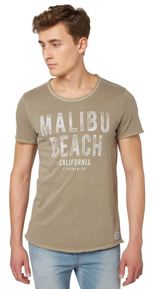 "TOM TAILOR DENIM T-Shirt »T-Shirt mit ""MALIBU""-Print« in honey camel beige"