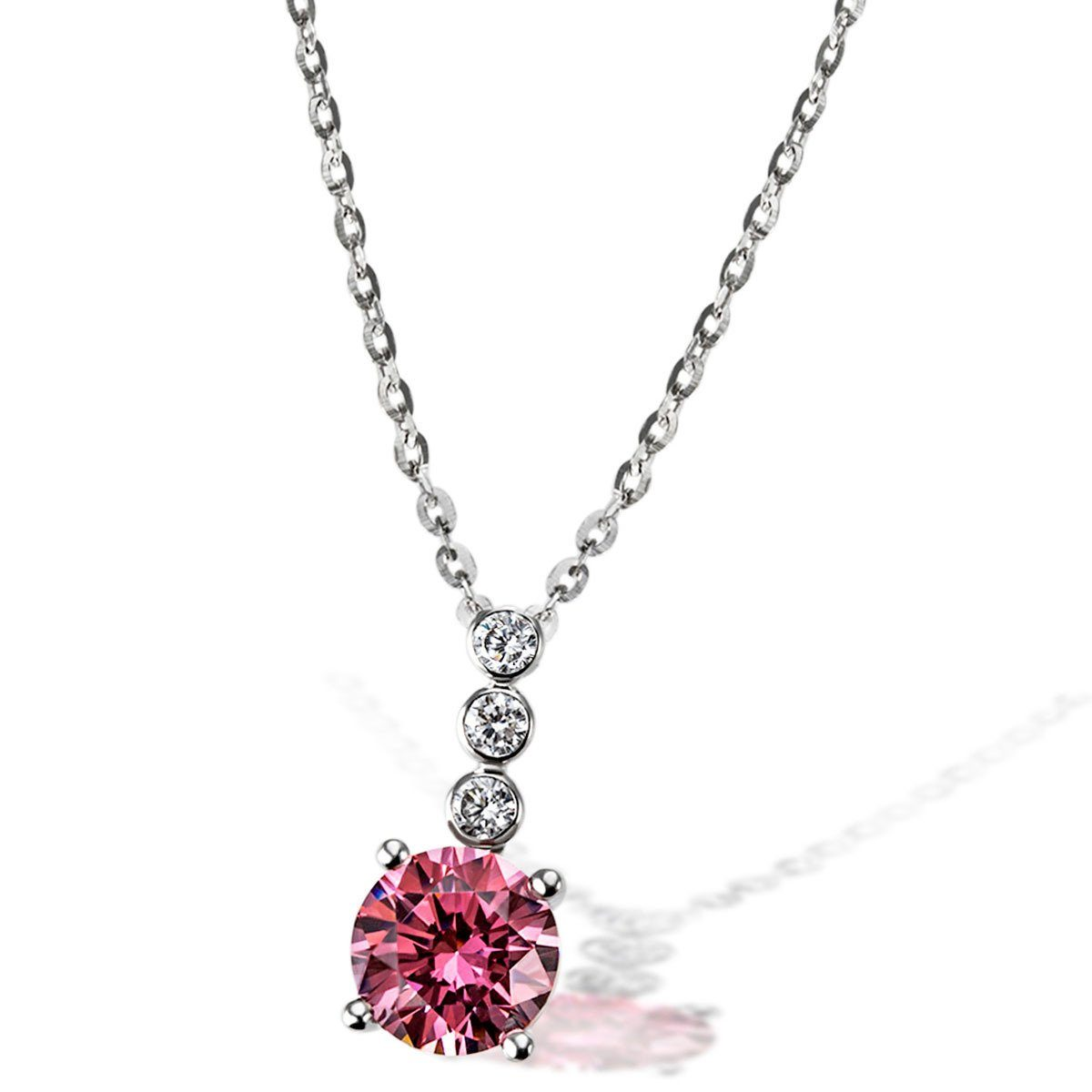 goldmaid Collier Fancy Pink 925/- Sterlingsilber 3 weiße Zirkonia 1 pinke