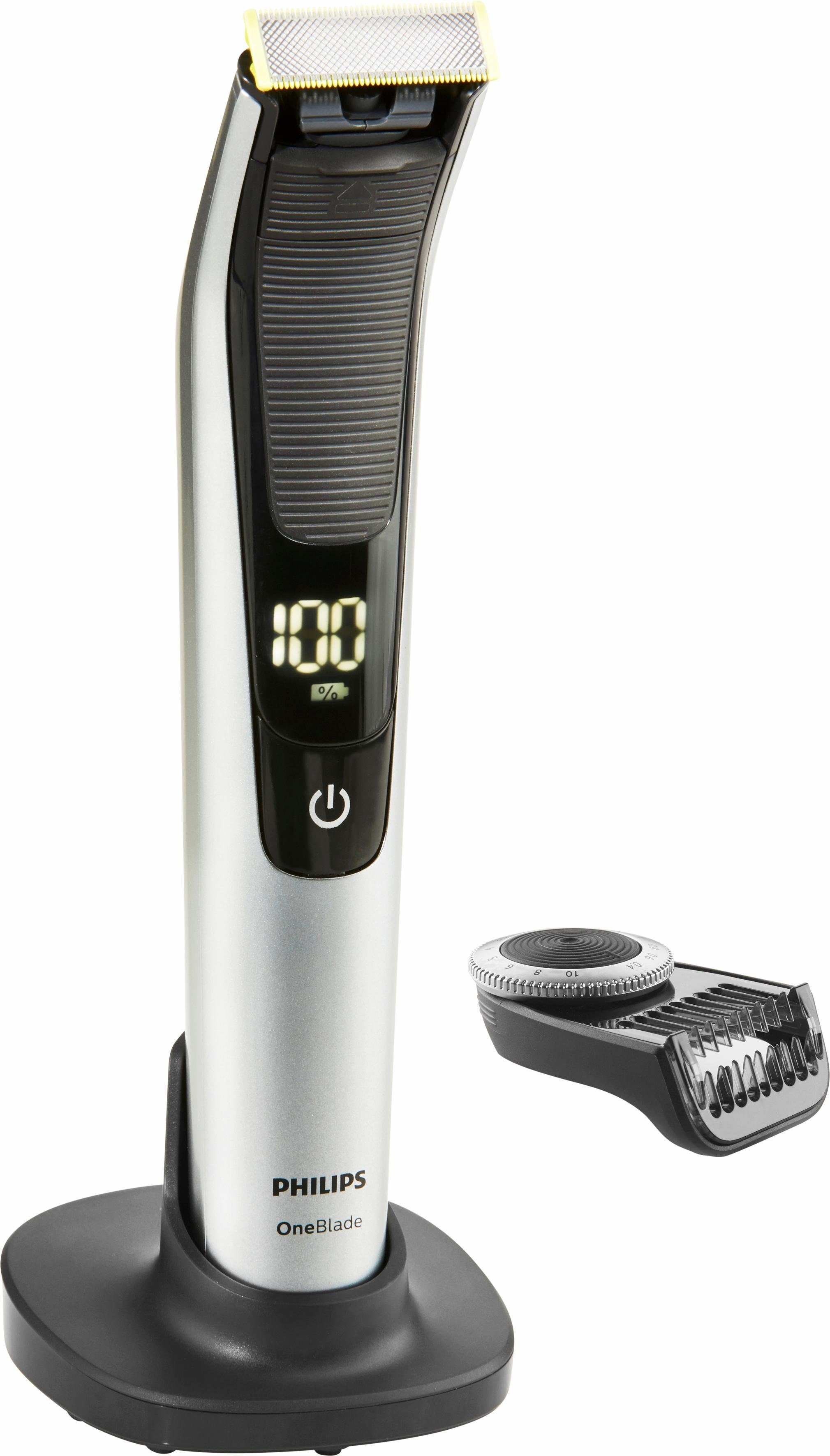 Philips Herrenrasierer OneBlade Pro QP6520/30, Akku, Wet&Dry, LED Display, Präzisions-Trimmer