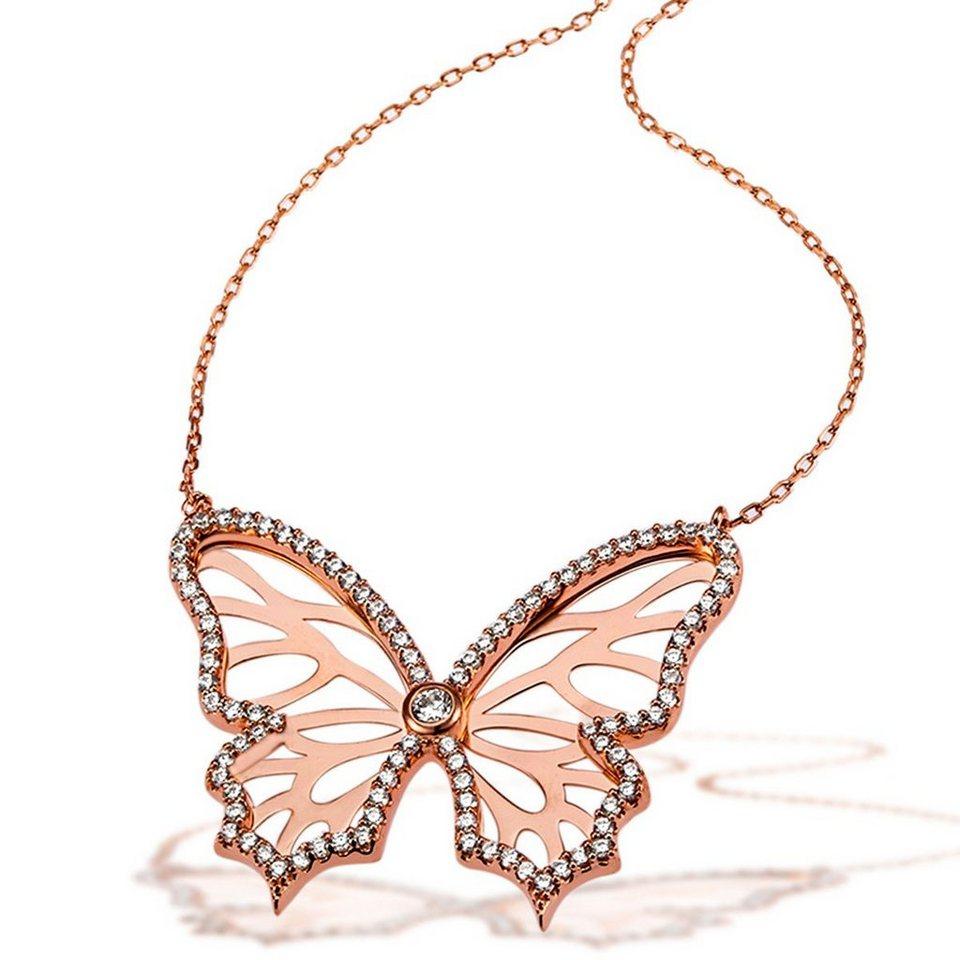 goldmaid Collier Schmetterling 925/- Stelingsilber rot vergoldet 95 weiße in rosegoldfarben