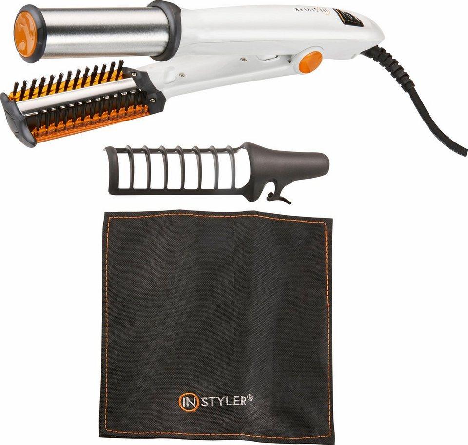 Instyler Haarglätter, -styler Titanium M6873, Glätteisen und Lockenstab in Einem in weiß grau