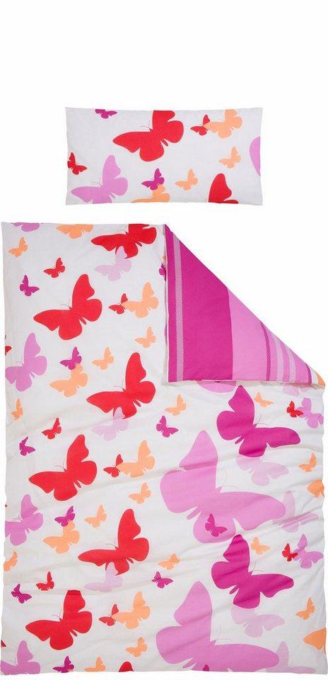 Wendebettwäsche, my home, »Sky«, mit Schmetterlingen in pink-orange