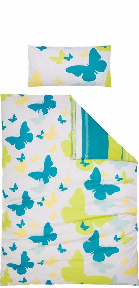 Wendebettwäsche, my home, »Sky«, mit Schmetterlingen in grün-türkis