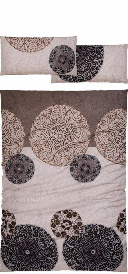 Bettwäsche, Auro Hometextile, »Alisa«, mit Kreisornamenten in grau-taupe