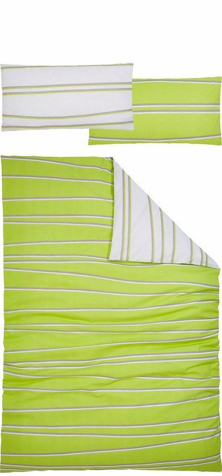 Wendebettwäsche, my home, »Cut«, mit ungeraden Linien in grün