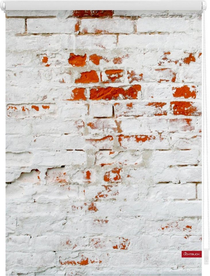 Seitenzugrollo, Lichtblick, »Klemmfix Dekor Mauer«, Lichtschutz, Fixmaß, ohne Bohren in weiß rot
