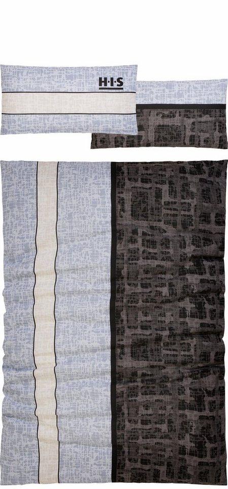 Bettwäsche, H.I.S, »Mailow«, im angesagtem Vintage-Look in grau-anthrazit
