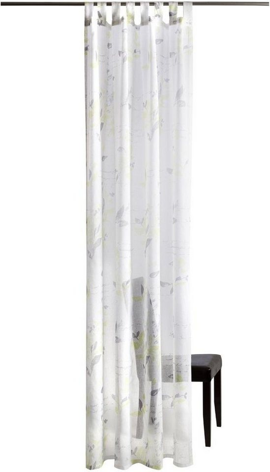 Gardine, Homing, »Leaf«, mit Schlaufen (1 Stück) in grün-grau