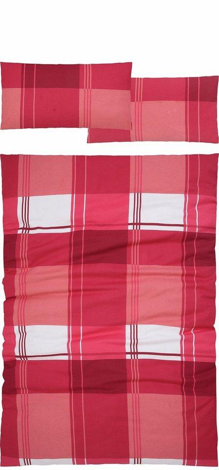 Bettwäsche, H.I.S, »Salan«, mit frischem Karo in rot