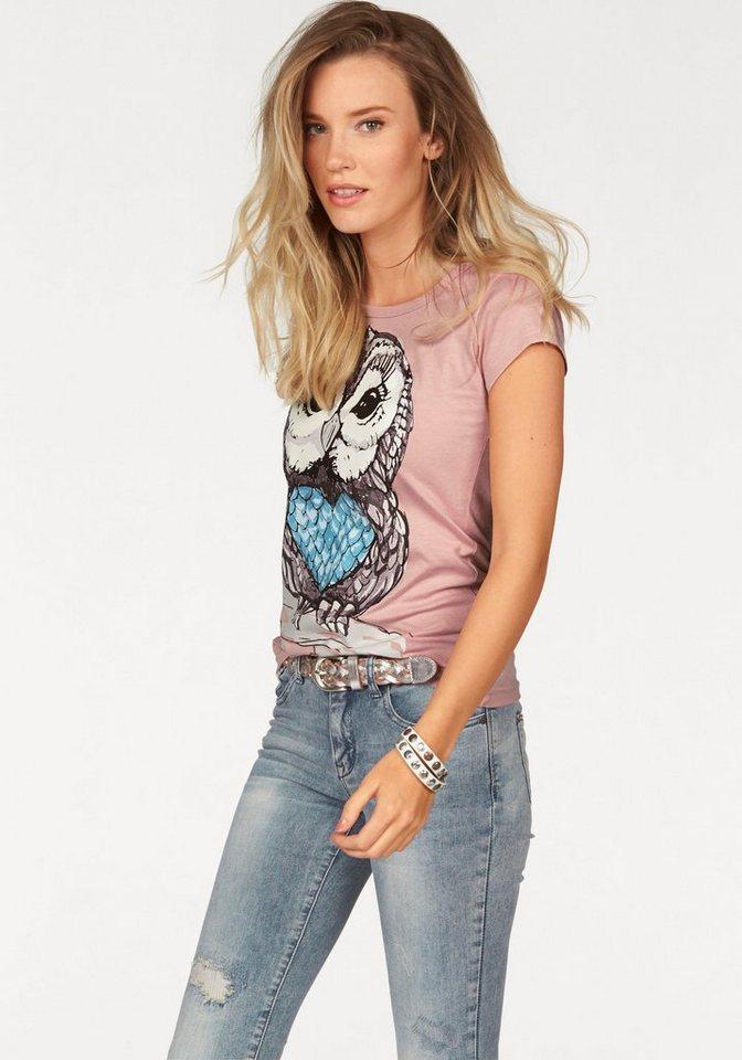 AJC T-Shirt mit Eule in rosé