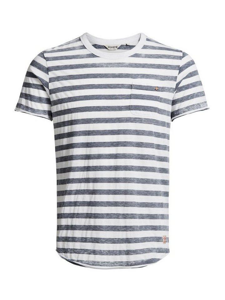 Jack & Jones Robustes, gestreiftes T-Shirt in Mood Indigo