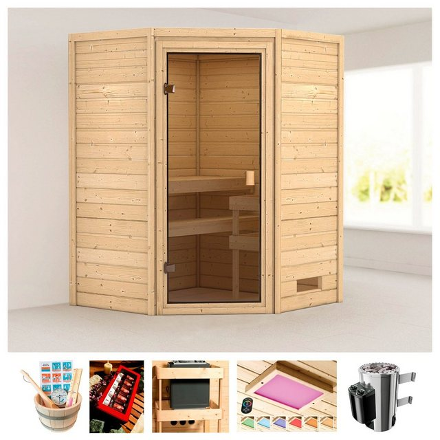 Saunen und Zubehör - KARIBU Sauna »Rügen 1«, 145x145x187 cm, 3,6 kW Plug Play Ofen mit int. Steuerung  - Onlineshop OTTO