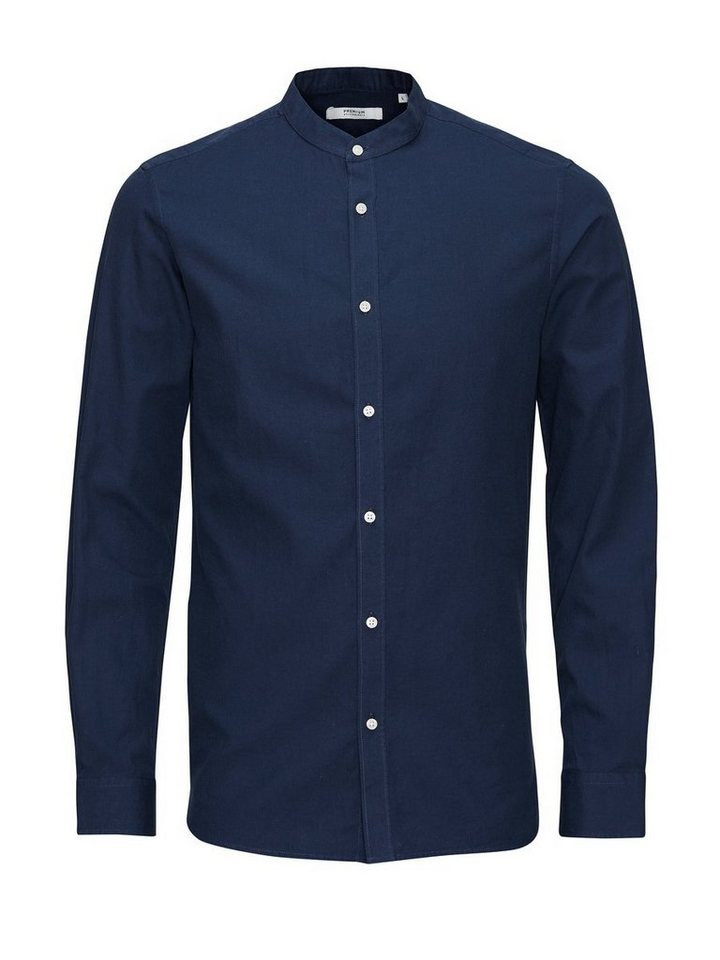Jack & Jones Bandkragen- Hemd in Navy Blazer