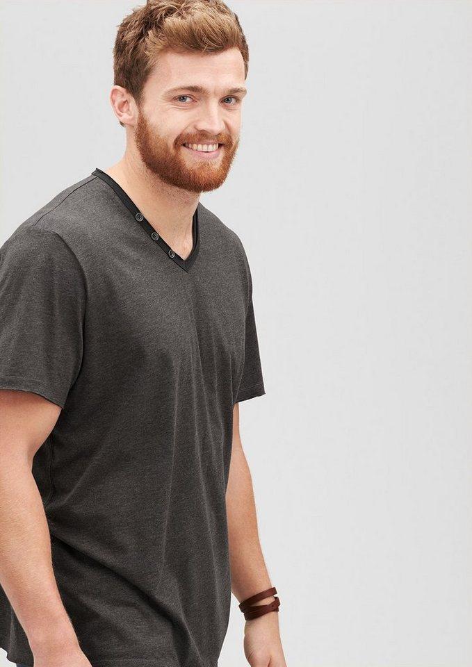 s.Oliver Lässiges T-Shirt mit V-Neck in jet set melange