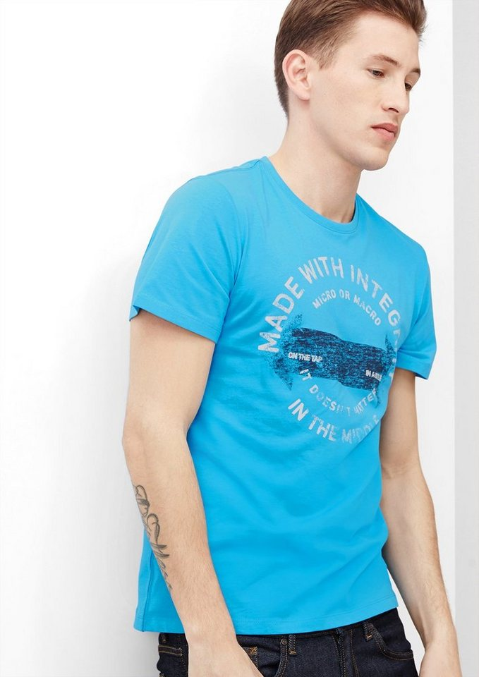 s.Oliver T-Shirt mit Stempel-Print in dolphin