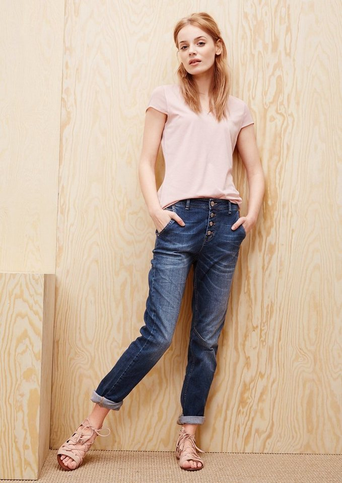 s.Oliver RED LABEL Boyfriend: Jeans mit Knopfleiste in ocean blue