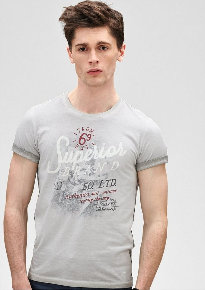 s.Oliver RED LABEL Schmales Pigment Dye-Shirt in light stone grey