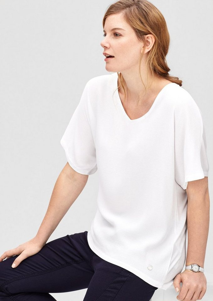 TRIANGLE Blusenshirt mit Crêpe-Front in white