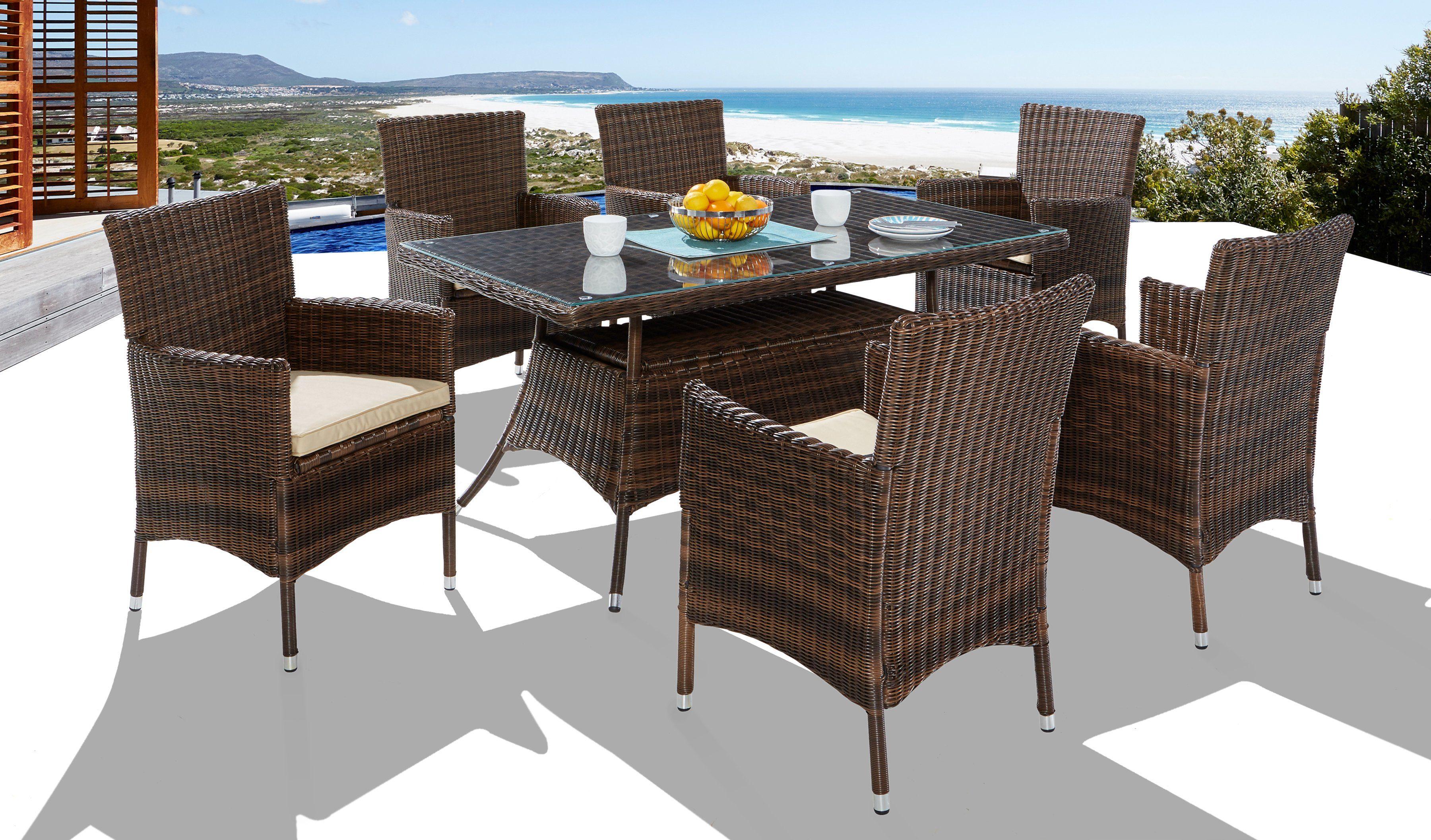 13-tgl. Gartenmöbelset »Santiago«, 6 Sessel, Tisch 150x80 cm, Polyrattan, braun