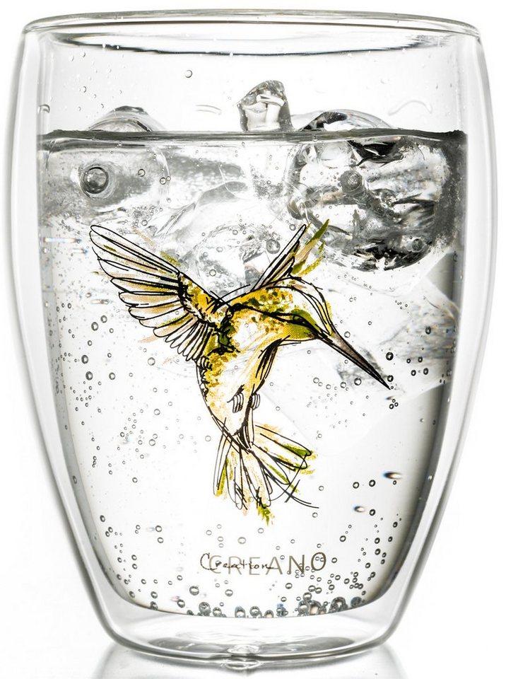 Creano Thermo-Glas, gelb, doppelwandiges Tee-Glas, Latte Macchiato Glas, »Hummi« in transparent