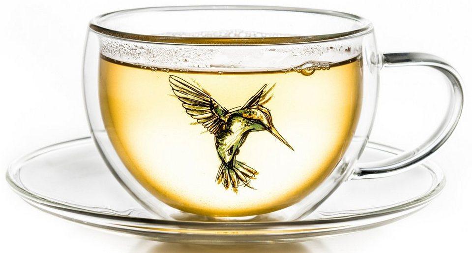 Creano Thermo-Tasse, blau, doppelwandige Tee-Tasse, Latte Macchiato Tasse, »Hummi« in transparent
