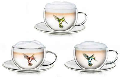 Creano Thermotasse »Hummi«, Glas, 3 Tassen, 3 Unterteller