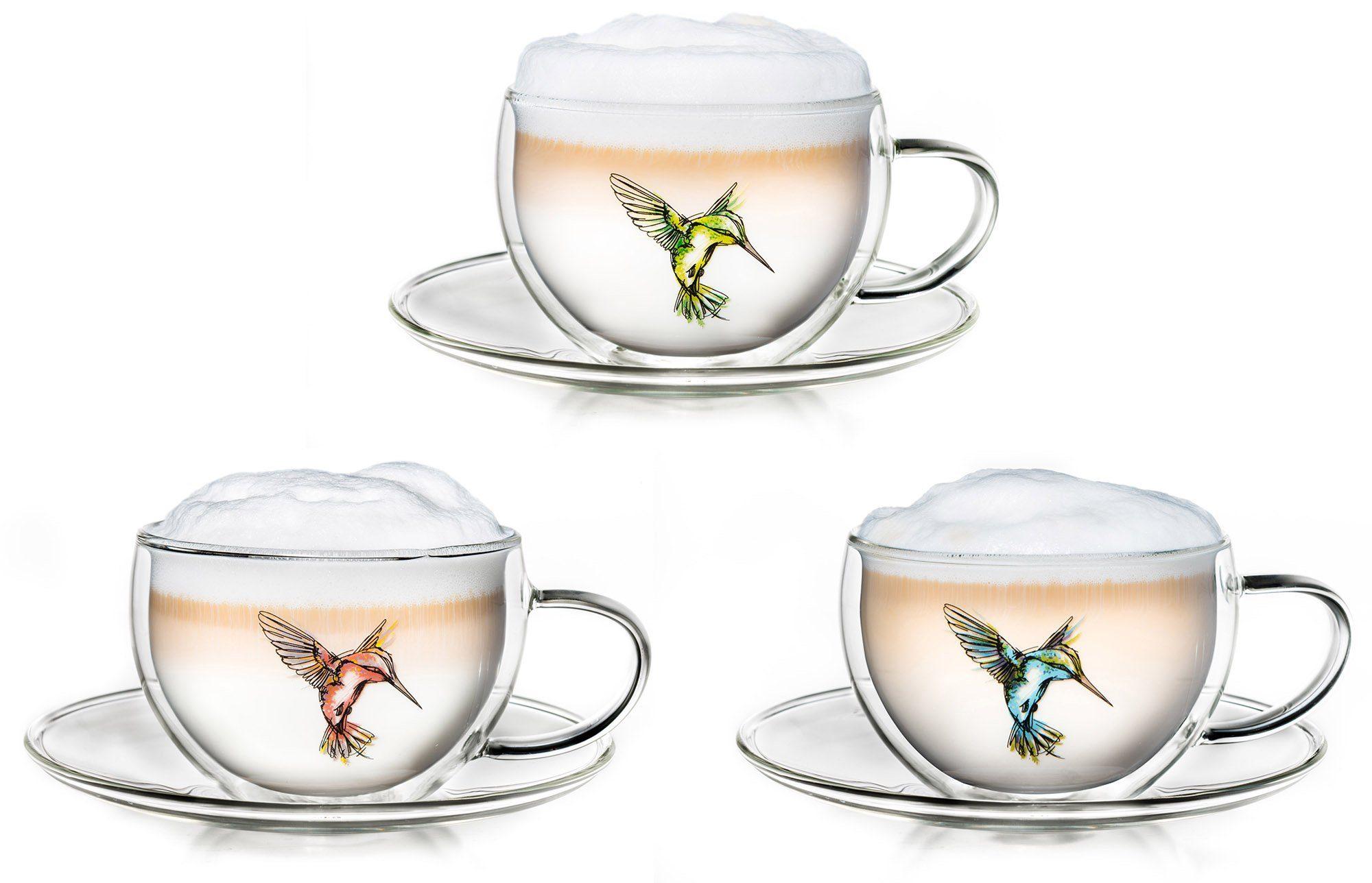 Creano Thermo-Tasse, 3-er Set, doppelwandige Tee-Tasse, Latte Macchiato Tasse, »Hummi«