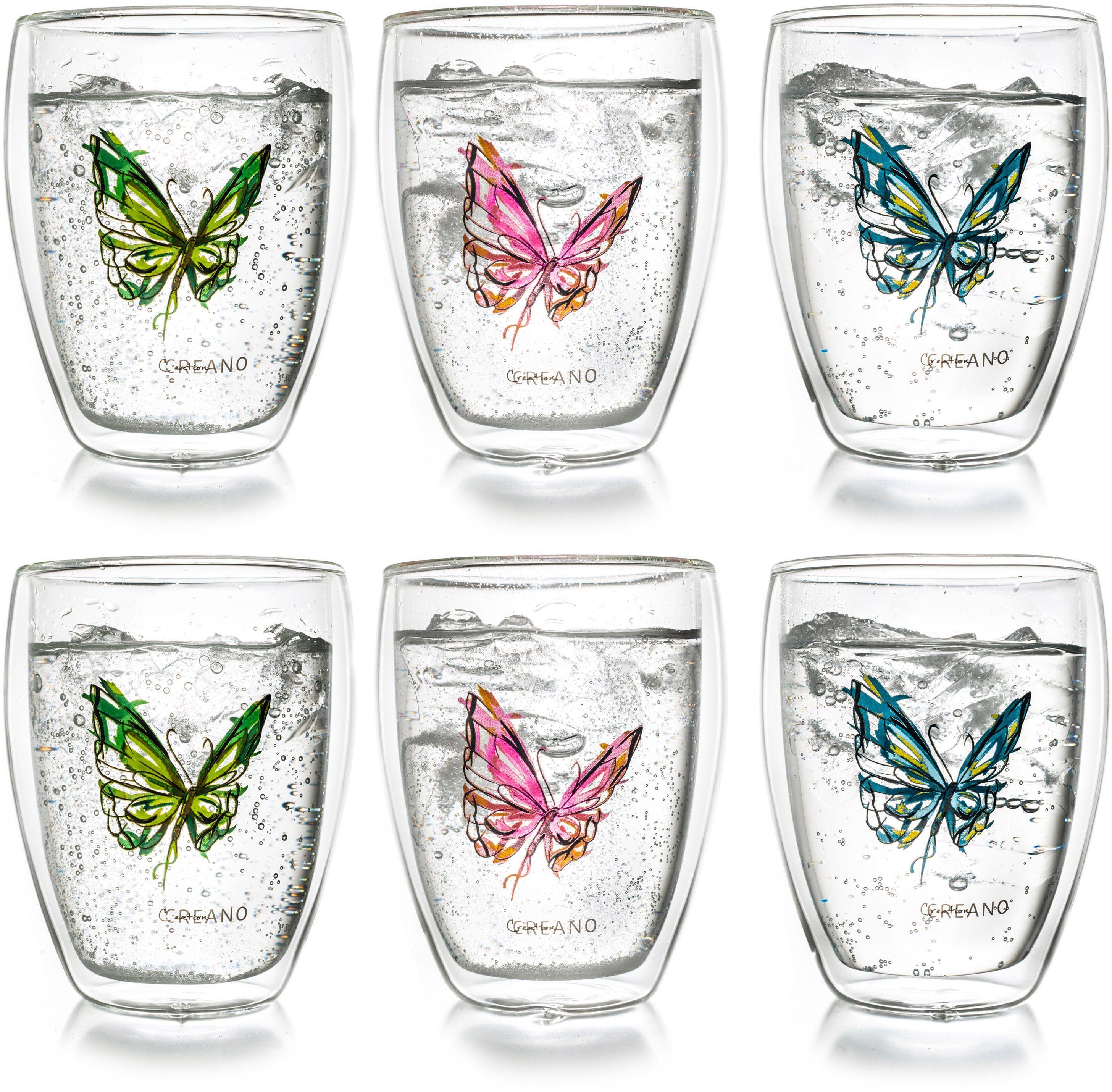 Creano Thermo-Glas, 6-er Set, doppelwandiges Tee-Glas, Latte Macchiato Glas, »Colourfly«