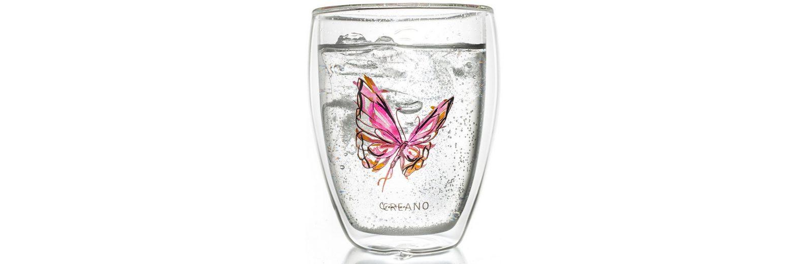 Creano Thermo-Glas, rot, doppelwandiges Tee-Glas, Latte Macchiato Glas, »Colourfly«